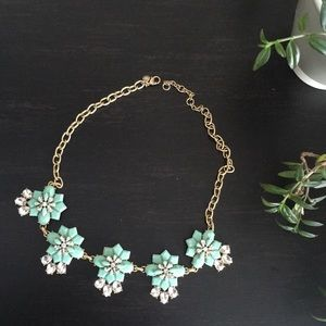 J Crew Turquoise Floral Statement Necklace